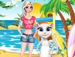 Play Elsa And Angela Surfing Time