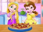 Play Baby Rapunzel and Belle cooking pizza