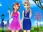 Elsa and Anna Spring Dress Up