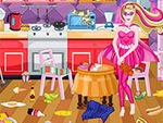 Play Super Barbie Kitchen Cleaning